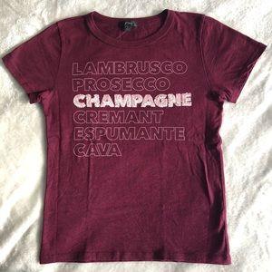 J CREW Burgundy Champagne T-shirt Size Small